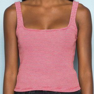 Brandy Melville Red and White Striped Tank Top